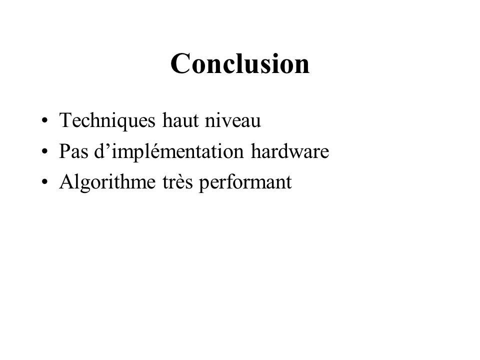 Conclusion Techniques haut niveau Pas dimplémentation hardware Algorithme très performant
