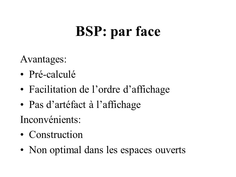BSP: par face Avantages: Pré-calculé Facilitation de lordre daffichage Pas dartéfact à laffichage Inconvénients: Construction Non optimal dans les espaces ouverts