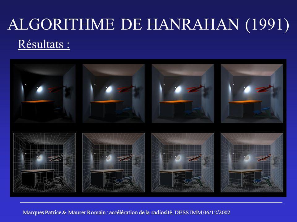 ALGORITHME DE HANRAHAN (1991) Résultats : Marques Patrice & Maurer Romain : accélération de la radiosité, DESS IMM 06/12/2002