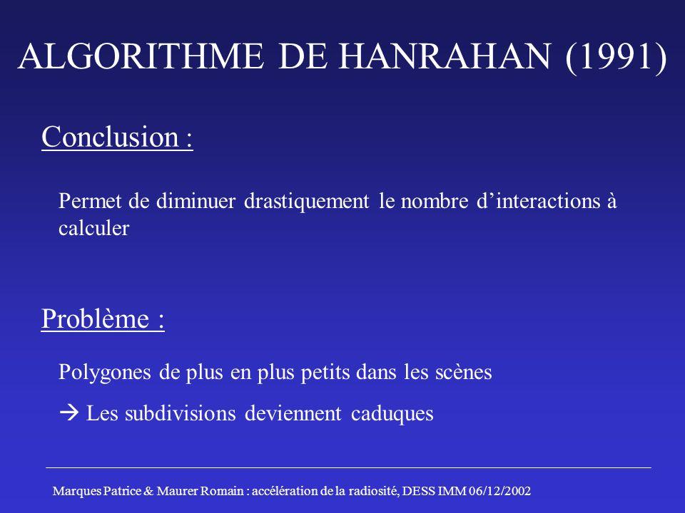 ALGORITHME DE HANRAHAN (1991) Conclusion : Permet de diminuer drastiquement le nombre dinteractions à calculer Problème : Polygones de plus en plus pe
