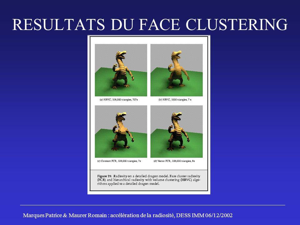 RESULTATS DU FACE CLUSTERING Marques Patrice & Maurer Romain : accélération de la radiosité, DESS IMM 06/12/2002