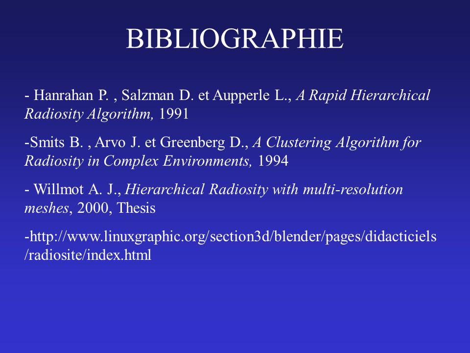 BIBLIOGRAPHIE - Hanrahan P., Salzman D. et Aupperle L., A Rapid Hierarchical Radiosity Algorithm, 1991 -Smits B., Arvo J. et Greenberg D., A Clusterin