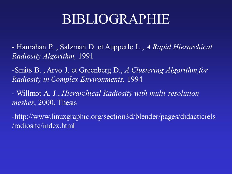 BIBLIOGRAPHIE - Hanrahan P., Salzman D.
