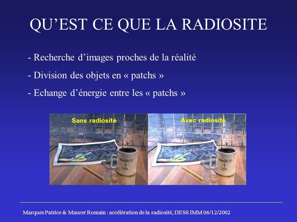 - Recherche dimages proches de la réalité - Division des objets en « patchs » - Echange dénergie entre les « patchs » Marques Patrice & Maurer Romain
