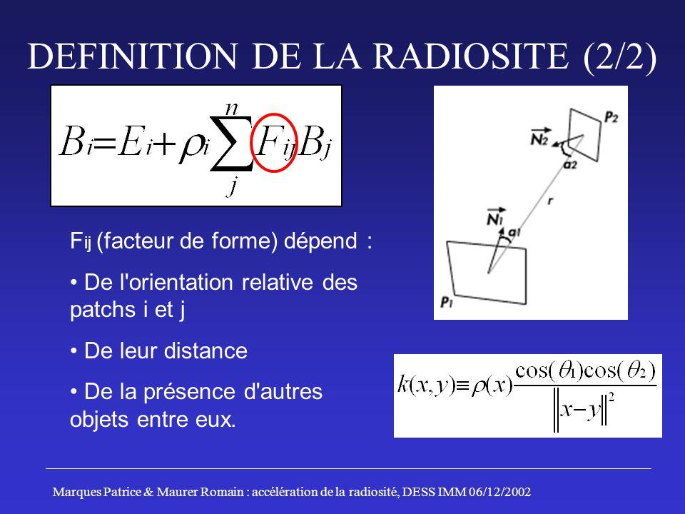 F ij (facteur de forme) dépend : De l orientation relative des patchs i et j De leur distance De la présence d autres objets entre eux.
