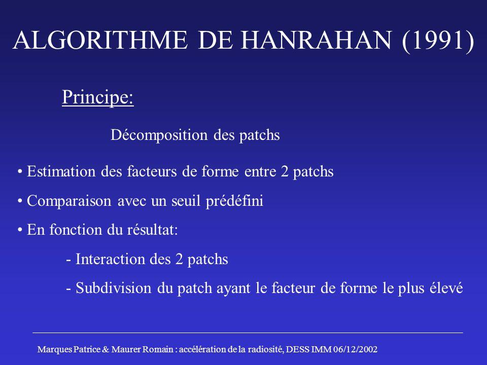 ALGORITHME DE HANRAHAN (1991) Principe: Décomposition des patchs Estimation des facteurs de forme entre 2 patchs Comparaison avec un seuil prédéfini E