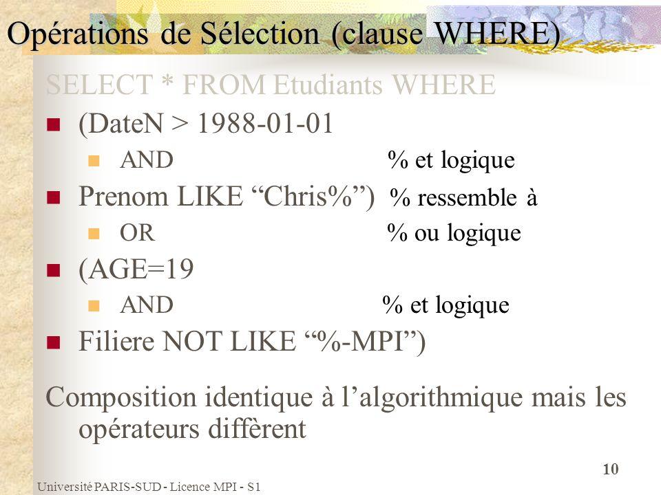 Université PARIS-SUD - Licence MPI - S1 10 Opérations de Sélection (clause WHERE) SELECT * FROM Etudiants WHERE (DateN > 1988-01-01 AND % et logique P