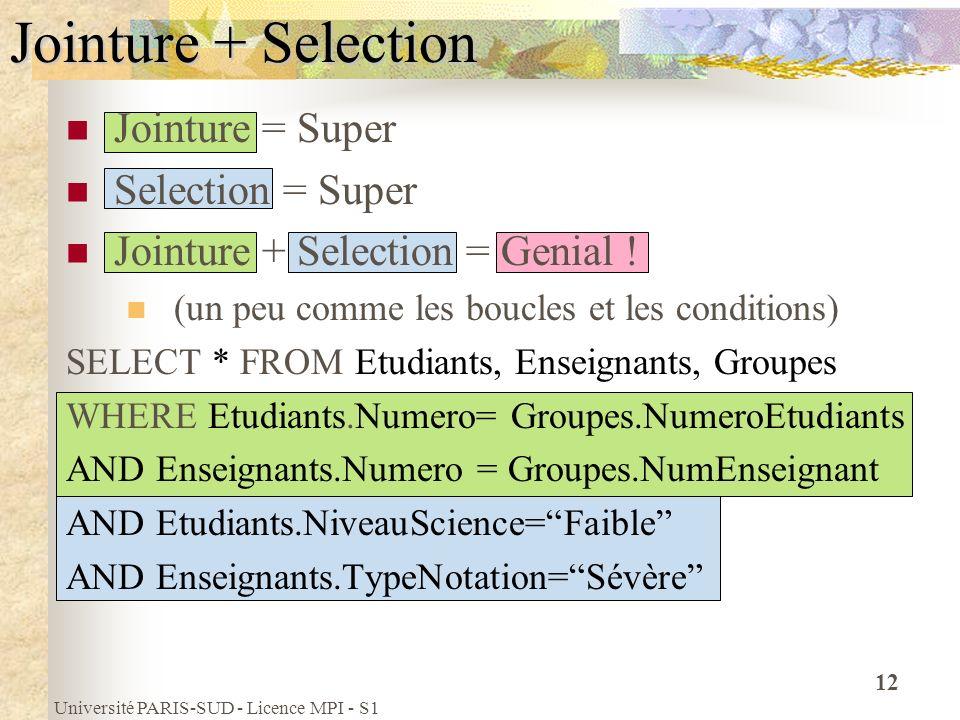 Université PARIS-SUD - Licence MPI - S1 12 Jointure + Selection Jointure = Super Selection = Super Jointure + Selection = Genial ! (un peu comme les b