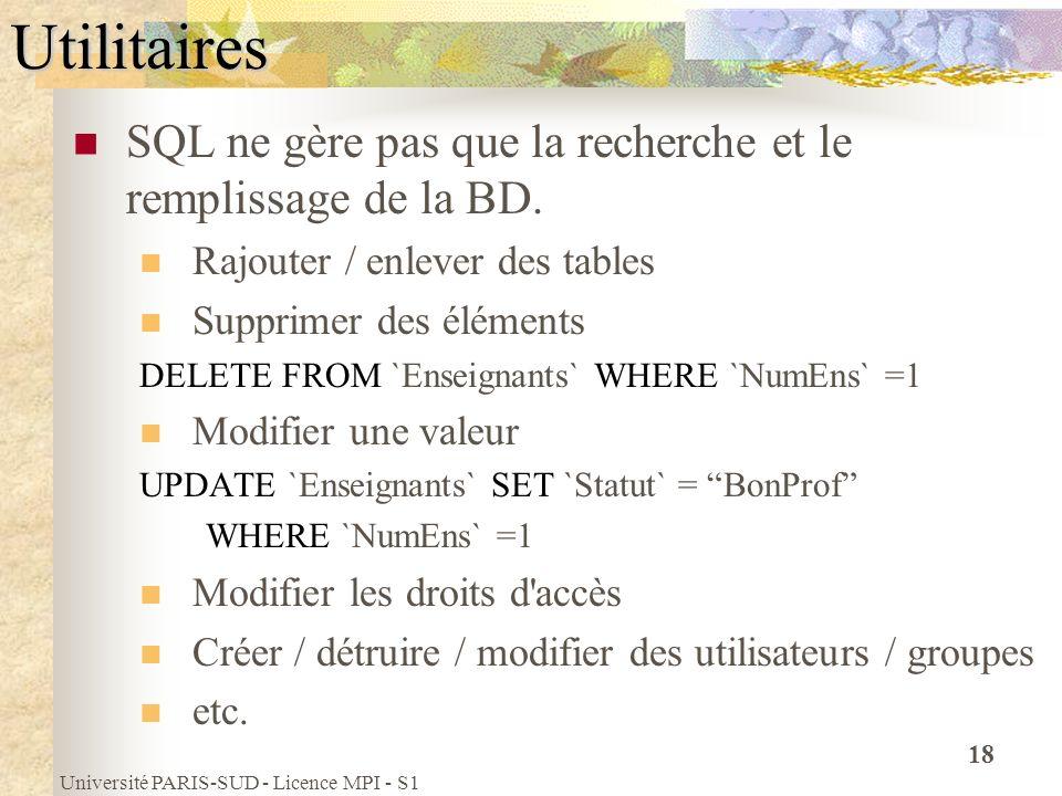 Université PARIS-SUD - Licence MPI - S1 18Utilitaires SQL ne gère pas que la recherche et le remplissage de la BD. Rajouter / enlever des tables Suppr