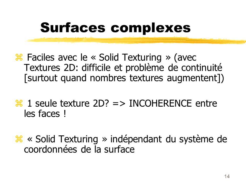 14 Surfaces complexes z Faciles avec le « Solid Texturing » (avec Textures 2D: difficile et problème de continuité [surtout quand nombres textures aug