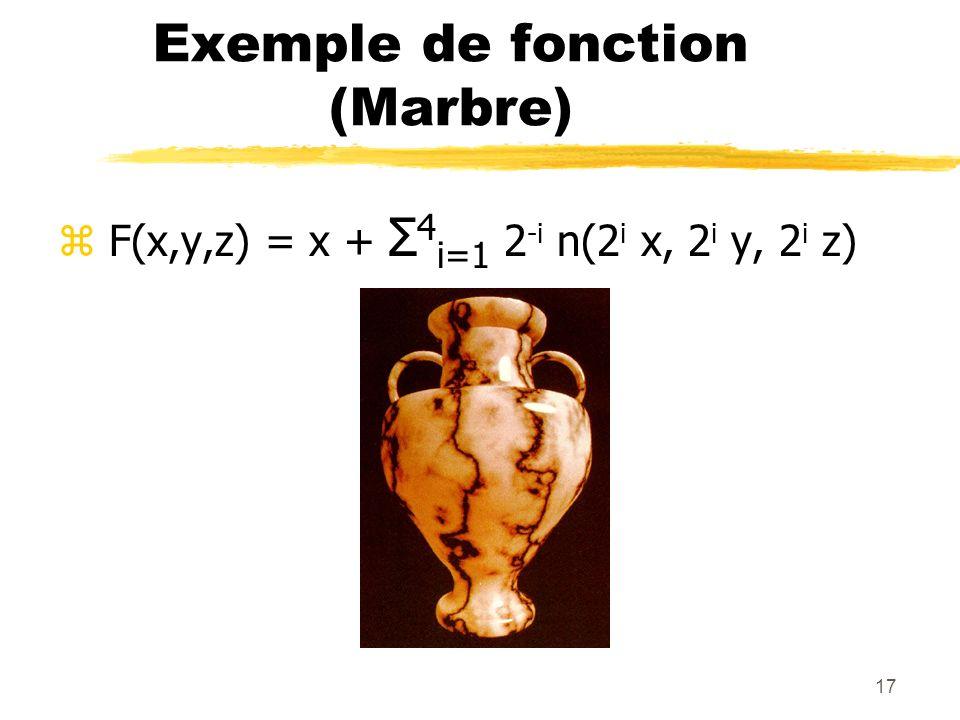 17 Exemple de fonction (Marbre) z F(x,y,z) = x + Σ 4 i=1 2 -i n(2 i x, 2 i y, 2 i z)