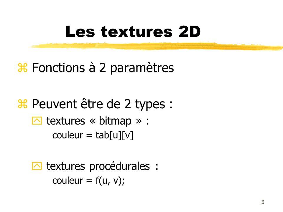 3 Les textures 2D z Fonctions à 2 paramètres z Peuvent être de 2 types : y textures « bitmap » : couleur = tab[u][v] y textures procédurales : couleur