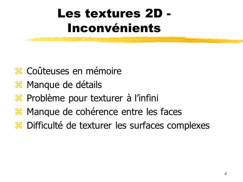 4 Les textures 2D - Inconvénients z Coûteuses en mémoire z Manque de détails z Problème pour texturer à linfini z Manque de cohérence entre les faces