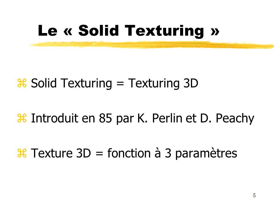 6 Le « Solid Texturing » z Variantes : y paramètres : vecteur normal, direction de lobservateur, dune source lumineuse, … y valeur retournée : couleur spéculaire,…