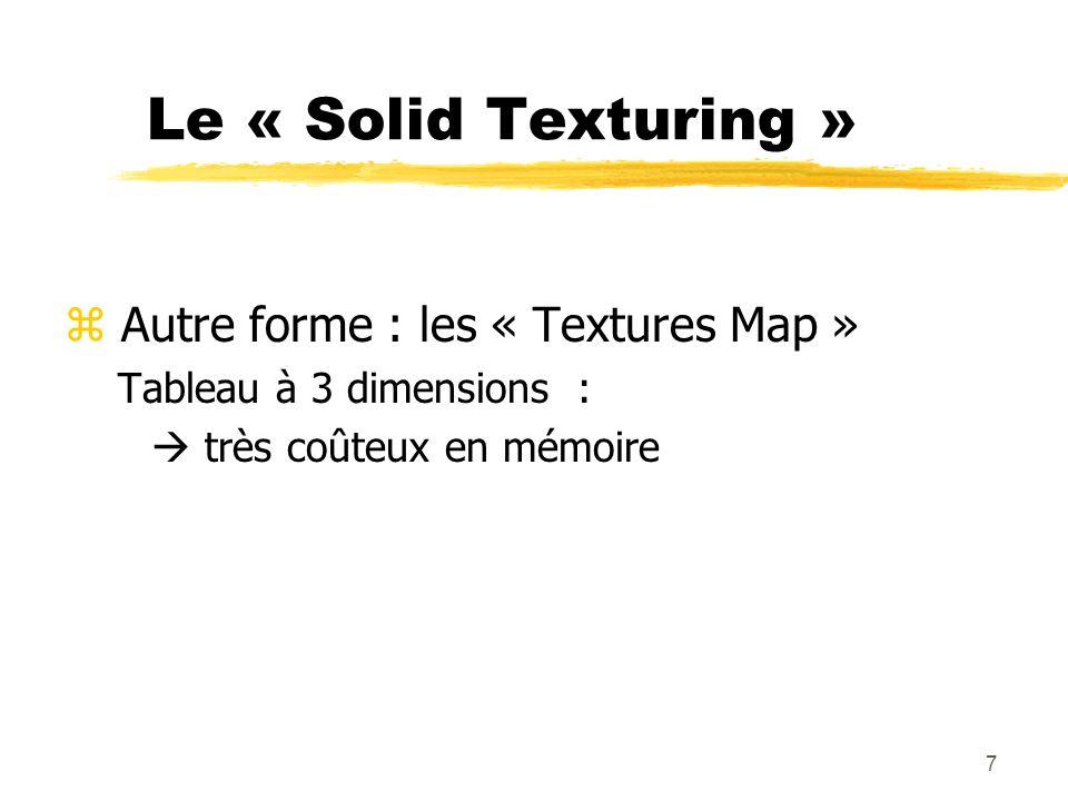 8 Avantages z Réalisme de matières non homogènes z Cohérence entre les faces z Solid Texturing indépendant de la forme de lobjet texturé