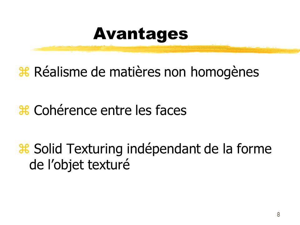 9 Avantages - Exemple z Comparaison textures 2D – textures 3D