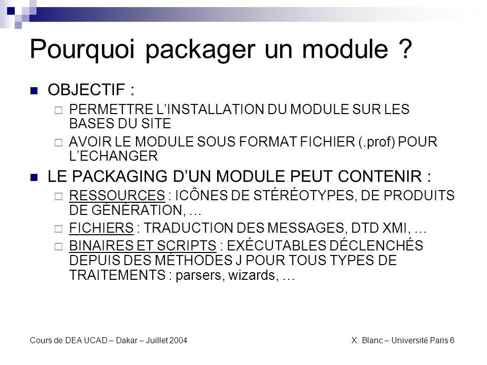 Cours de DEA UCAD – Dakar – Juillet 2004 X. Blanc – Université Paris 6 Packager (1)