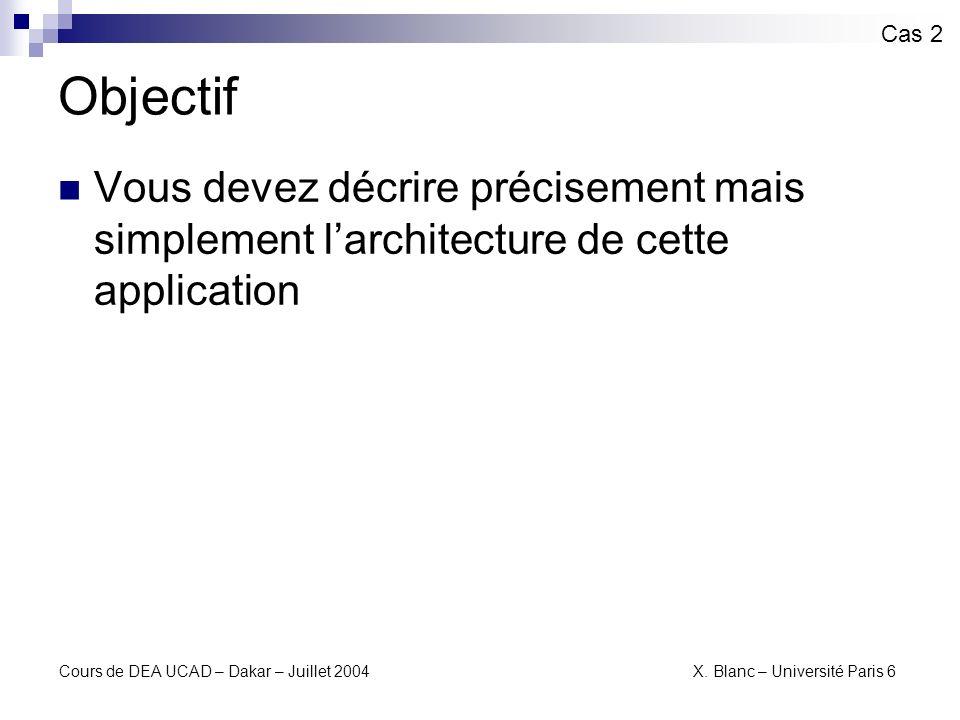 Cours de DEA UCAD – Dakar – Juillet 2004 X. Blanc – Université Paris 6 Feuille WSDL Cas 2