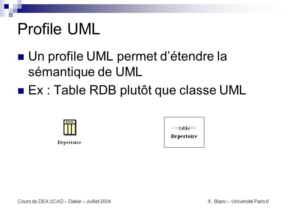 Cours de DEA UCAD – Dakar – Juillet 2004 X. Blanc – Université Paris 6 Transformation vers Profile