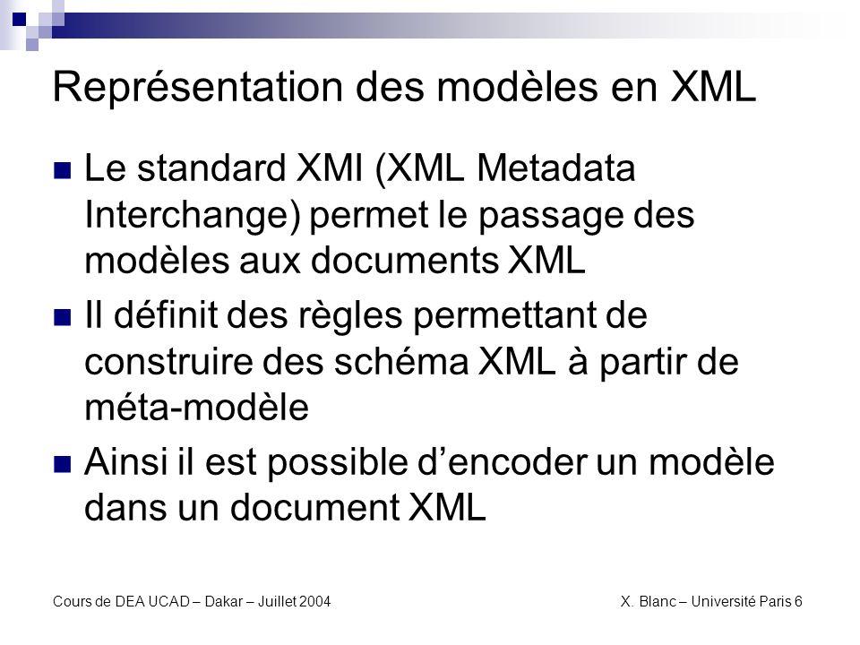 Cours de DEA UCAD – Dakar – Juillet 2004 X. Blanc – Université Paris 6 La passerelle OMG : XMI
