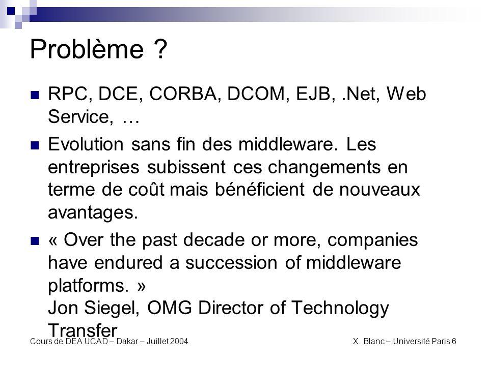 Cours de DEA UCAD – Dakar – Juillet 2004 X.Blanc – Université Paris 6 Pourquoi cest un problème .