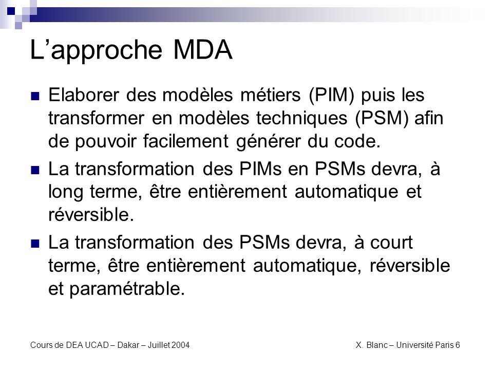Cours de DEA UCAD – Dakar – Juillet 2004 X.Blanc – Université Paris 6 PIM vers PSM PIM PSM...