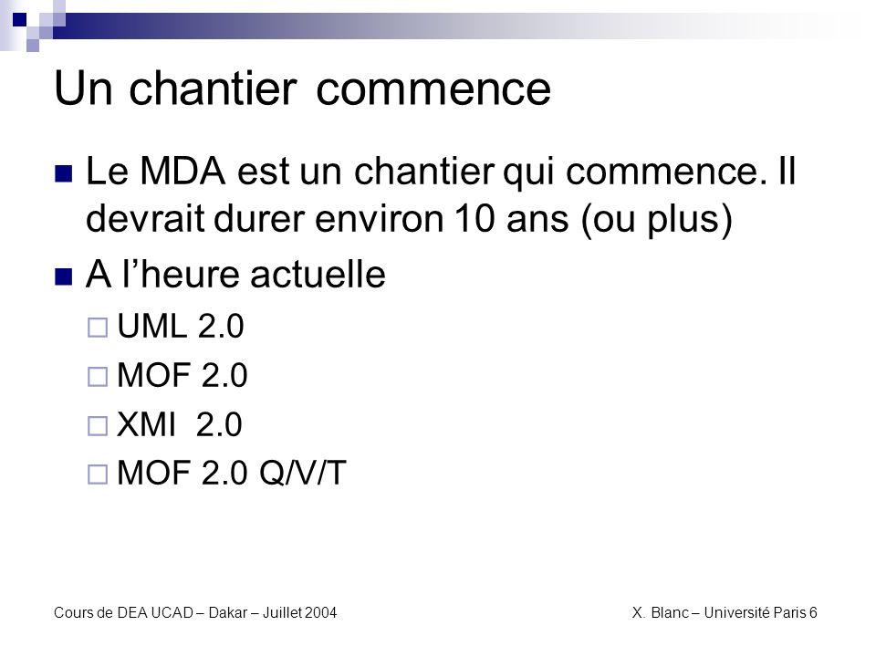 Cours de DEA UCAD – Dakar – Juillet 2004 X. Blanc – Université Paris 6