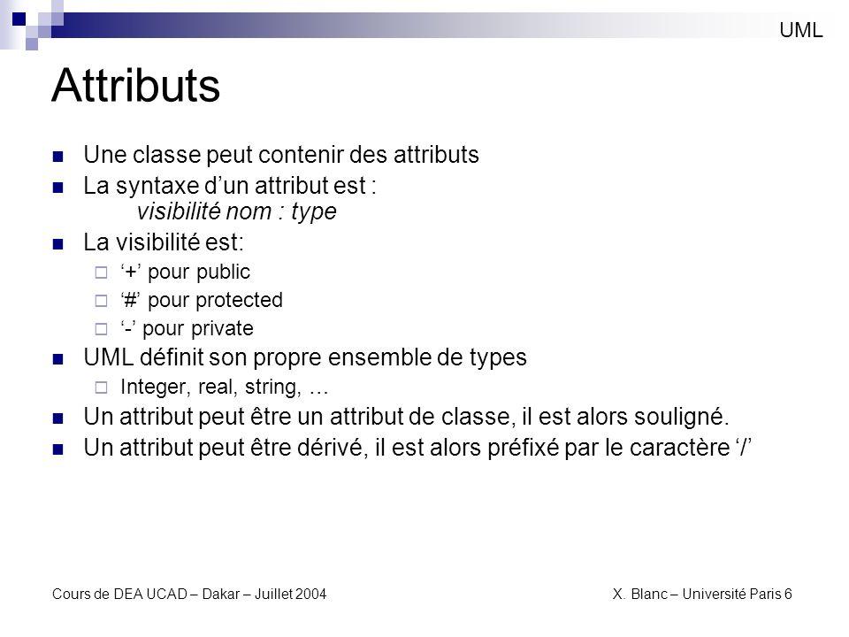 Cours de DEA UCAD – Dakar – Juillet 2004 X. Blanc – Université Paris 6 Attributs UML