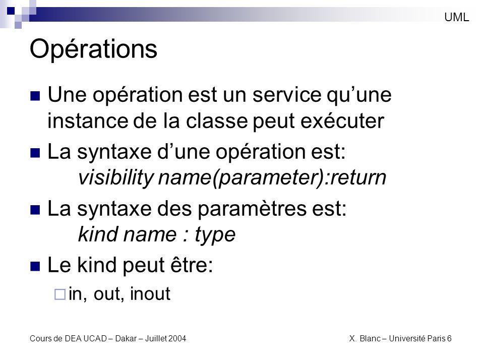 Cours de DEA UCAD – Dakar – Juillet 2004 X. Blanc – Université Paris 6 Opérations UML