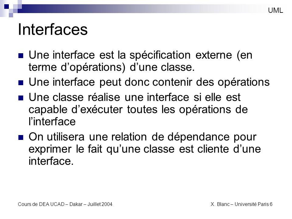 Cours de DEA UCAD – Dakar – Juillet 2004 X. Blanc – Université Paris 6 Interfaces UML