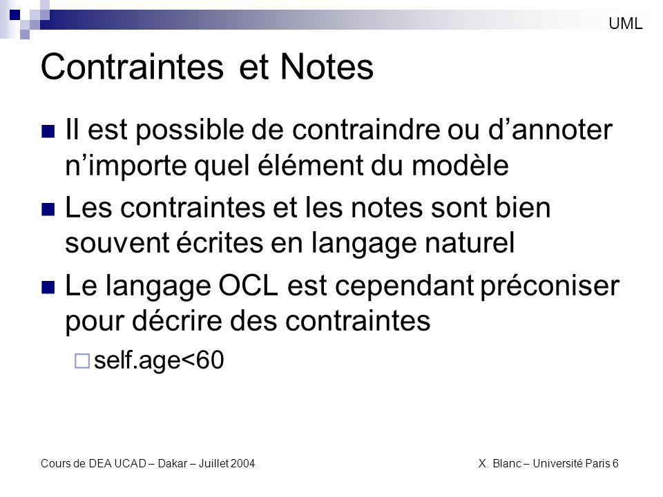 Cours de DEA UCAD – Dakar – Juillet 2004 X. Blanc – Université Paris 6 Contraintes et Notes UML