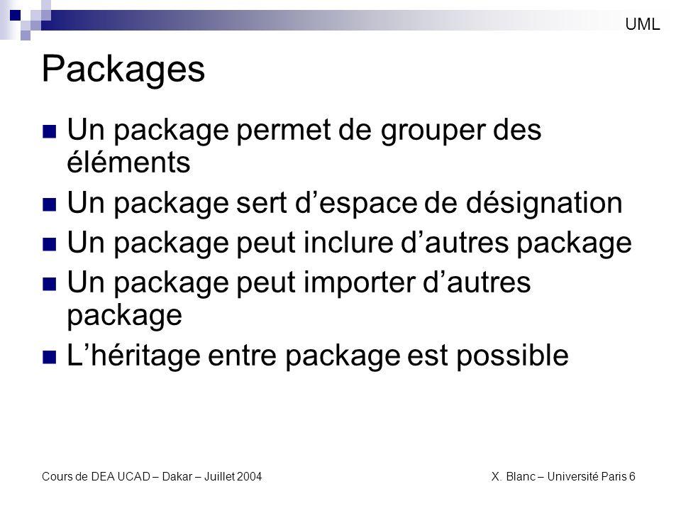 Cours de DEA UCAD – Dakar – Juillet 2004 X. Blanc – Université Paris 6 Packages UML