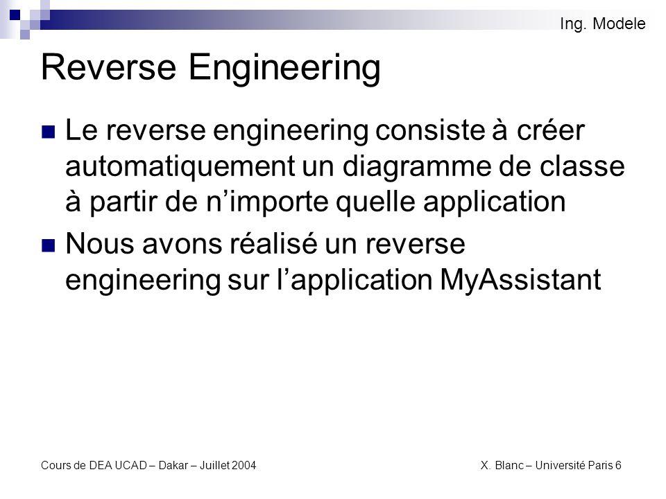Cours de DEA UCAD – Dakar – Juillet 2004 X.Blanc – Université Paris 6 Reverse de MyAssistant Ing.