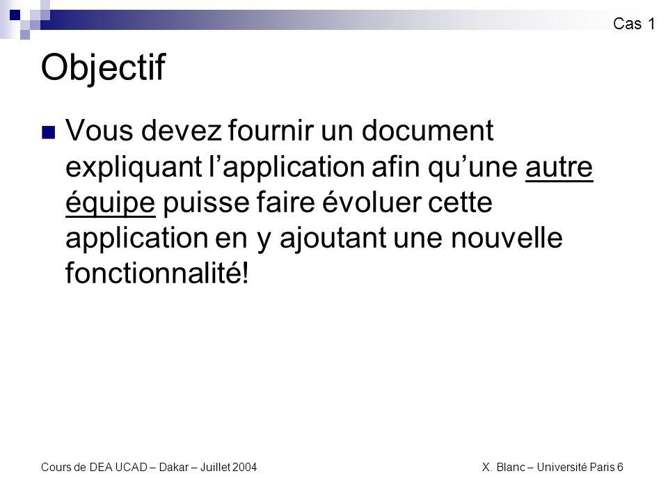 Cours de DEA UCAD – Dakar – Juillet 2004 X. Blanc – Université Paris 6 Scénario dutilisation Cas 1