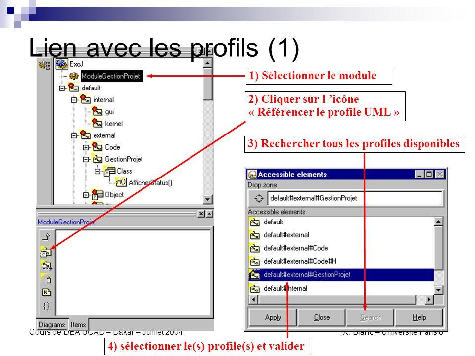 Cours de DEA UCAD – Dakar – Juillet 2004 X. Blanc – Université Paris 6 Lien avec les profils (2)
