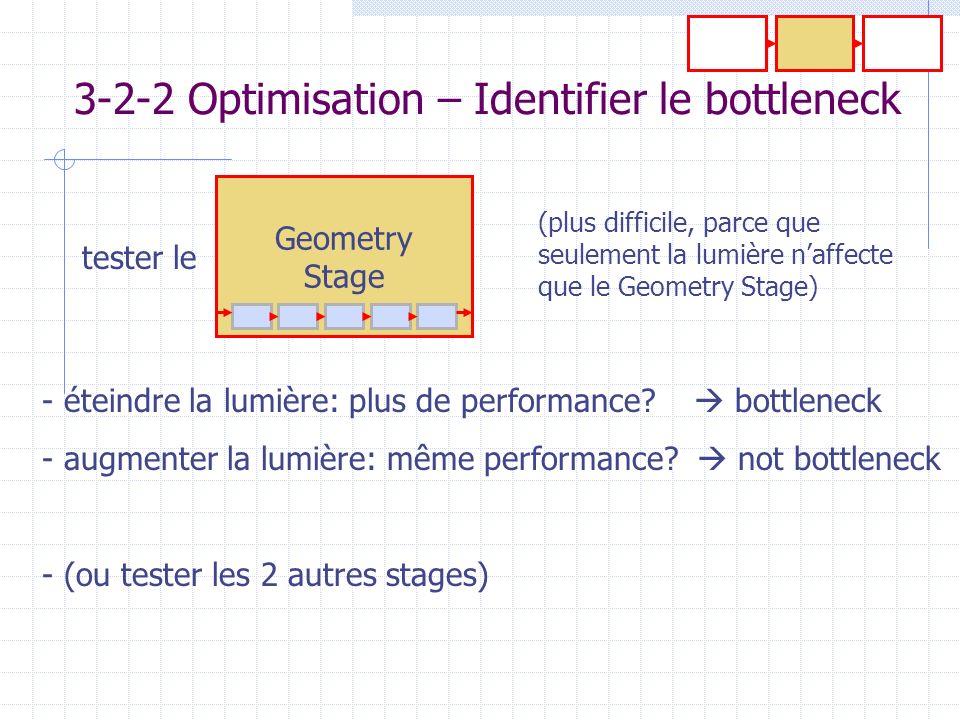 Geometry Stage 3-2-2 Optimisation – Identifier le bottleneck - éteindre la lumière: plus de performance? bottleneck - augmenter la lumière: même perfo