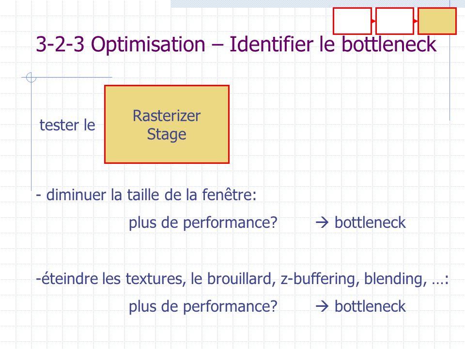 Rasterizer Stage 3-2-3 Optimisation – Identifier le bottleneck - diminuer la taille de la fenêtre: plus de performance? bottleneck -éteindre les textu