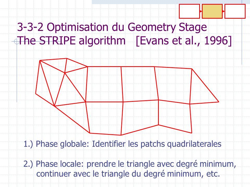 3-3-2 Optimisation du Geometry Stage The STRIPE algorithm [Evans et al., 1996] 1.) Phase globale: Identifier les patchs quadrilaterales 2.) Phase loca
