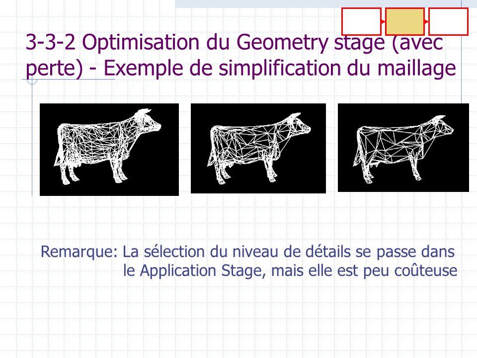 3-3-2 Optimisation du Geometry stage (avec perte) - Exemple de simplification du maillage Remarque: La sélection du niveau de détails se passe dans le