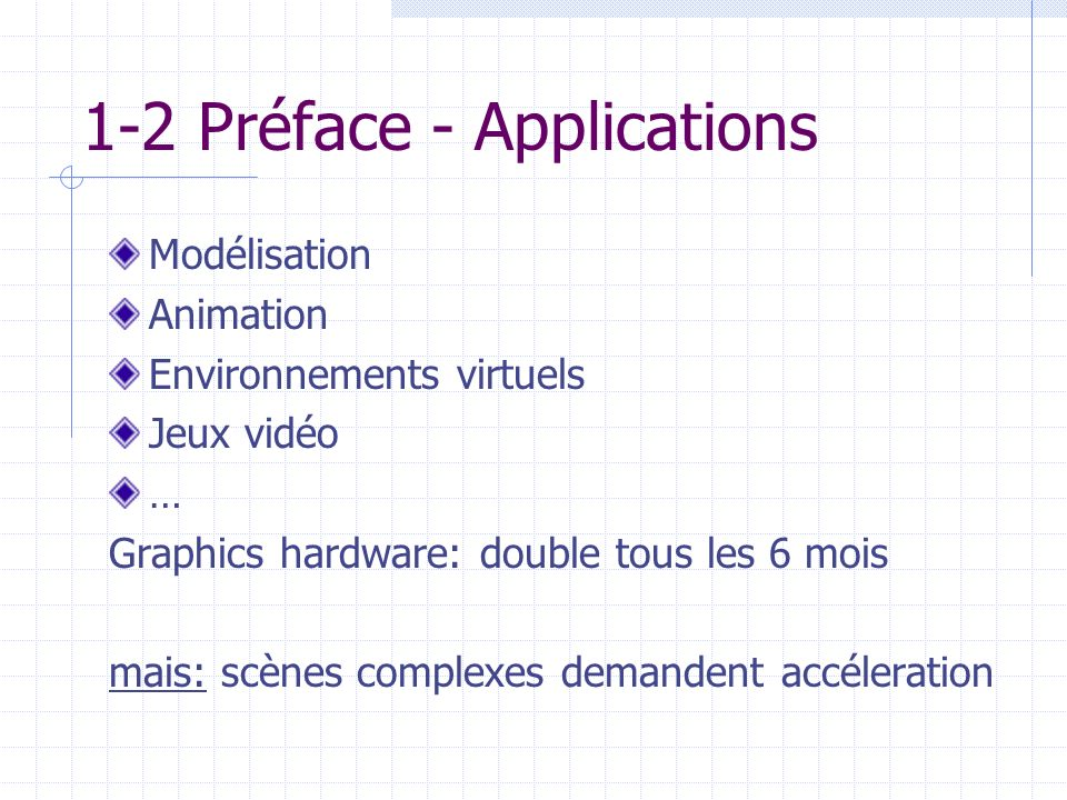 1-2 Préface - Applications Modélisation Animation Environnements virtuels Jeux vidéo … Graphics hardware: double tous les 6 mois mais: scènes complexe