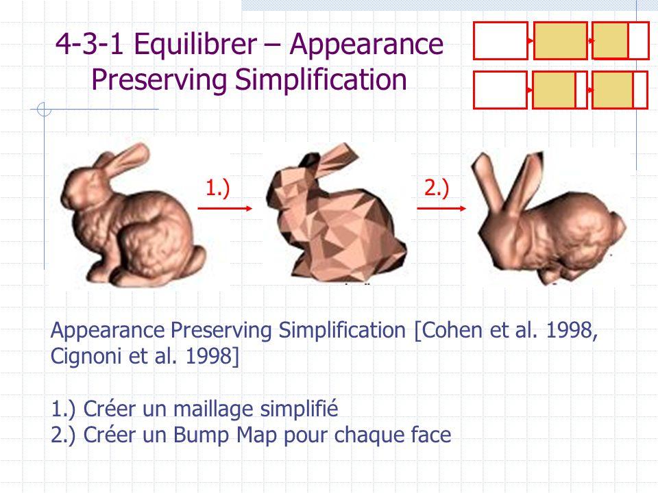 4-3-1 Equilibrer – Appearance Preserving Simplification Appearance Preserving Simplification [Cohen et al. 1998, Cignoni et al. 1998] 1.) Créer un mai