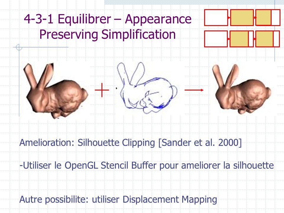 4-3-1 Equilibrer – Appearance Preserving Simplification Amelioration: Silhouette Clipping [Sander et al. 2000] -Utiliser le OpenGL Stencil Buffer pour
