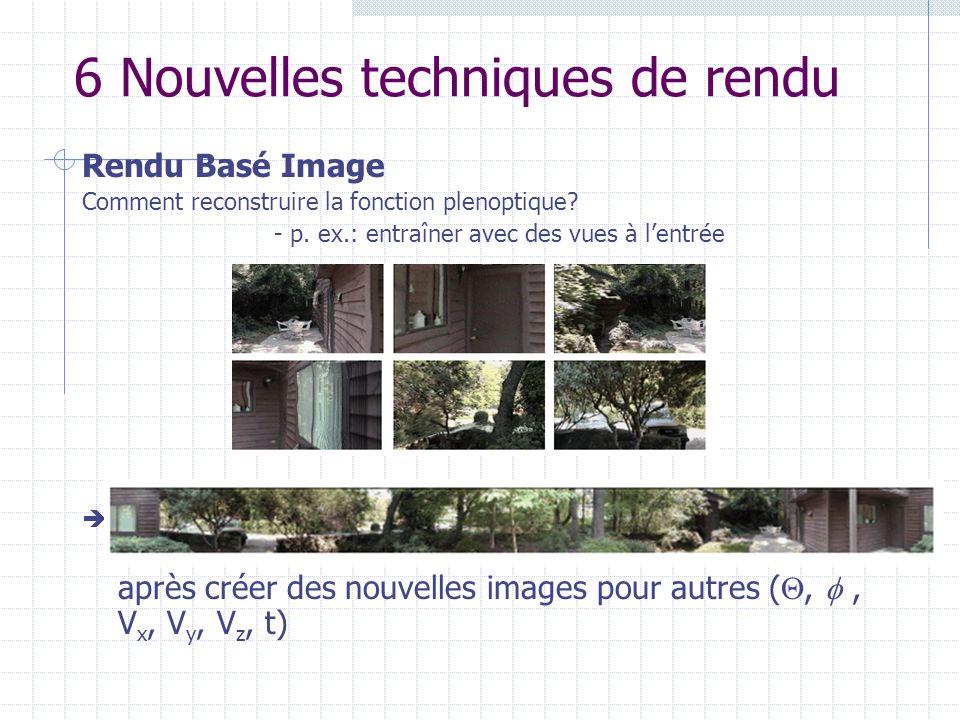 6 Nouvelles techniques de rendu Rendu Basé Image Comment reconstruire la fonction plenoptique? - p. ex.: entraîner avec des vues à lentrée après créer