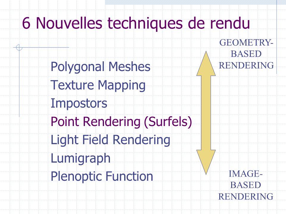 6 Nouvelles techniques de rendu Polygonal Meshes Texture Mapping Impostors Point Rendering (Surfels) Light Field Rendering Lumigraph Plenoptic Functio