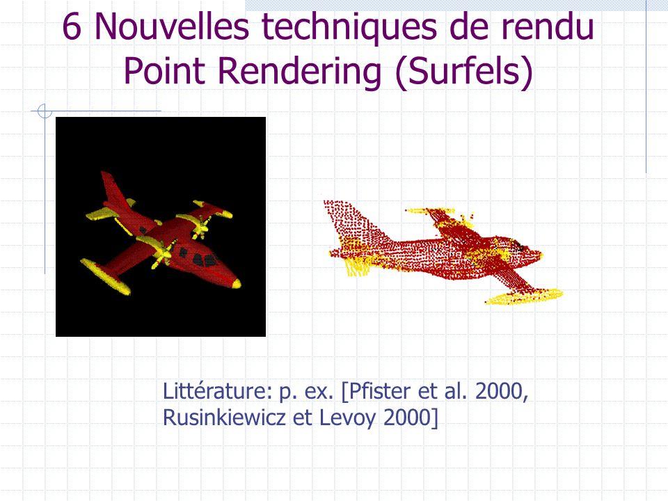 6 Nouvelles techniques de rendu Point Rendering (Surfels) Littérature: p. ex. [Pfister et al. 2000, Rusinkiewicz et Levoy 2000]