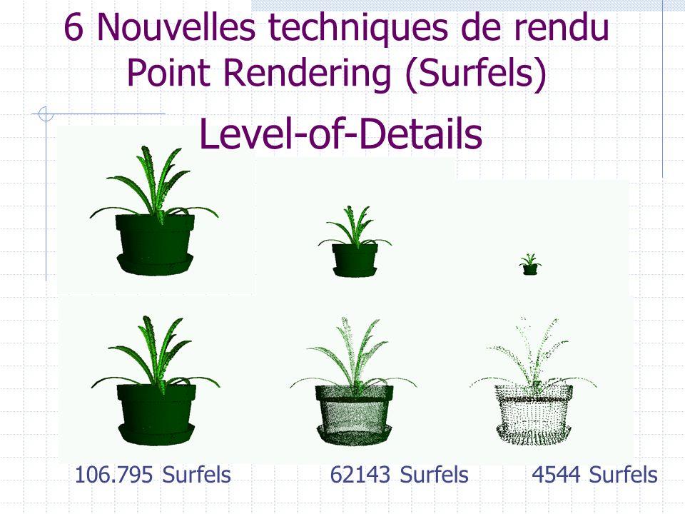 6 Nouvelles techniques de rendu Point Rendering (Surfels) 106.795 Surfels 62143 Surfels 4544 Surfels Level-of-Details