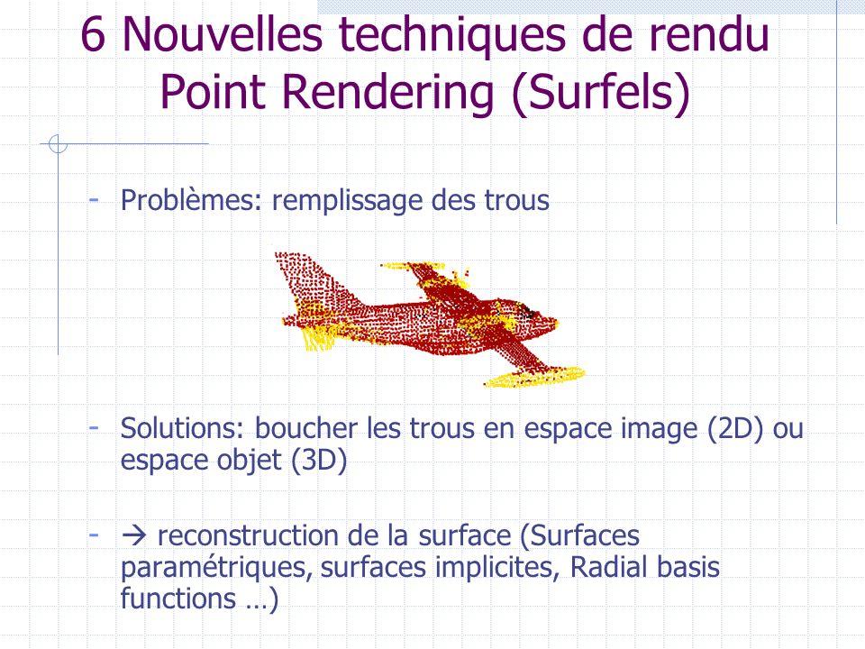 - Problèmes: remplissage des trous - Solutions: boucher les trous en espace image (2D) ou espace objet (3D) - reconstruction de la surface (Surfaces p