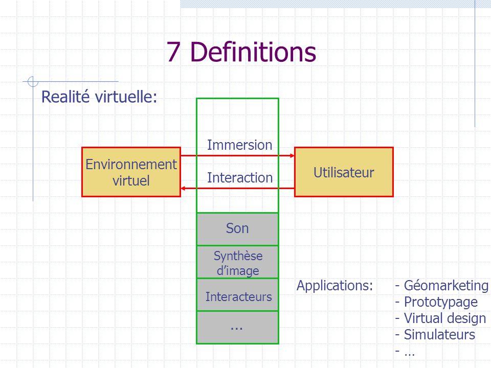 7 Definitions Environnement virtuel Utilisateur Immersion Interaction Realité virtuelle: Synthèse dimage Interacteurs … Son Applications:- Géomarketin