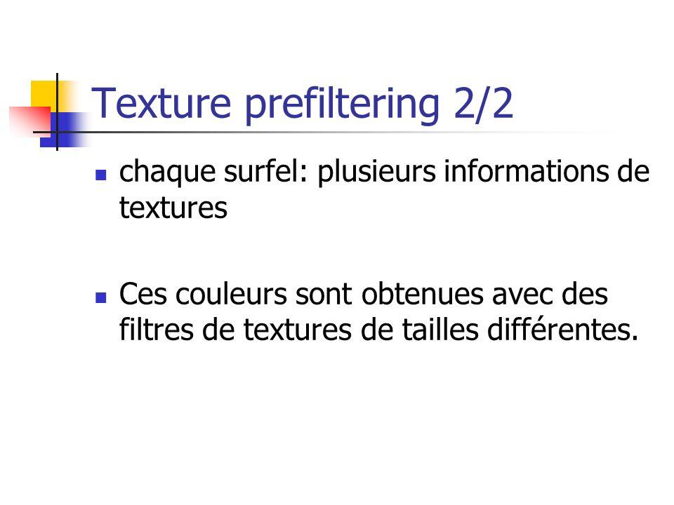 Texture prefiltering 2/2 chaque surfel: plusieurs informations de textures Ces couleurs sont obtenues avec des filtres de textures de tailles différentes.
