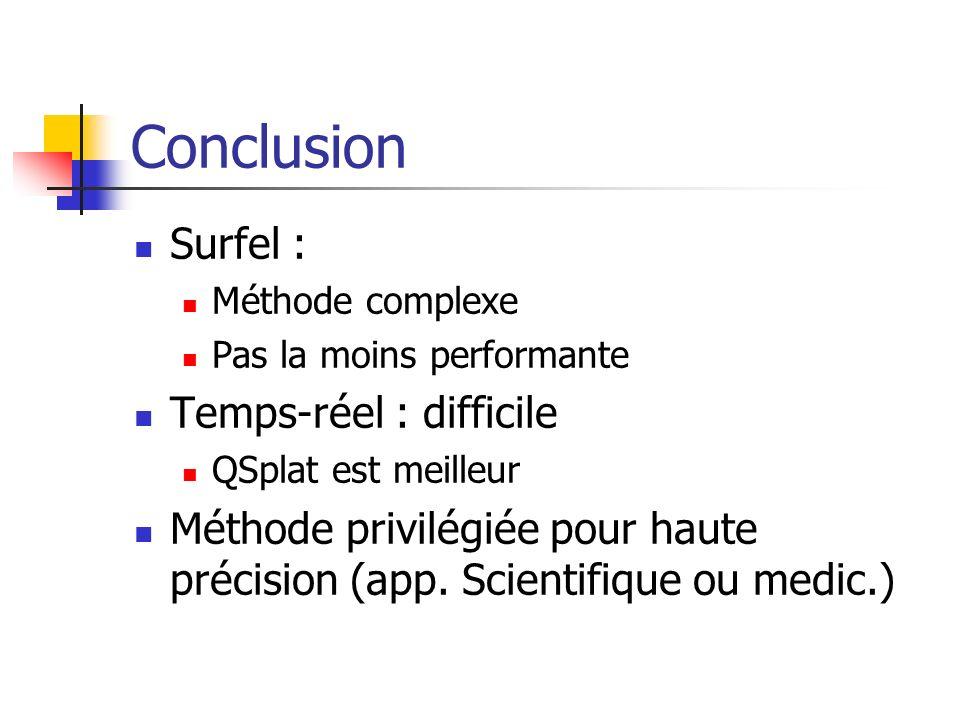 Conclusion Surfel : Méthode complexe Pas la moins performante Temps-réel : difficile QSplat est meilleur Méthode privilégiée pour haute précision (app.